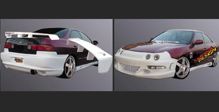 Ac Kt Acura Kt Front Custom Rear Bumper Cover Side Skirts Body Kit Spoiler Roof Trunk Wing Hood Grill Led Black Mesh Sarona on 97 Acura Integra 4 Door